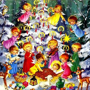 Christmas snow winter angels cherubs nativity Jesus Christ baby infant candles squirrels deers lambs sheep birds presents gifts owls stars oranges fruits bananas grapes apples lanterns bells music musicians violins flute children