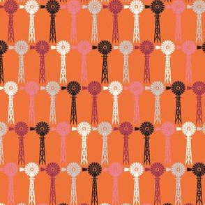 Hollyhock Windmills - Orange