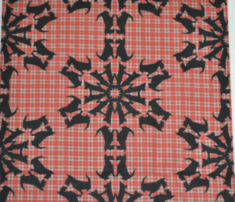 Black Scottie Snowflakes on Plaid