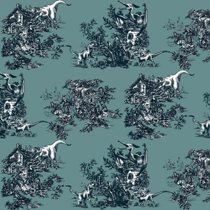 Jurassic toile teal and blue