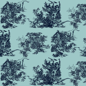 Jurassic toile teal all over
