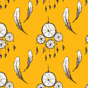 Dream Catcher and Feathers - Mustard Background