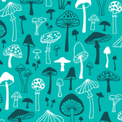 Mushrooms in Aqua Green Blue