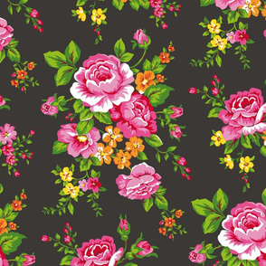 Vintage Floral with Pink Roses