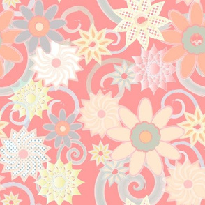 Floral Watercolor Strokes, Pink Coral