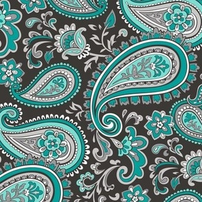 Modern Paisley in Mint Green