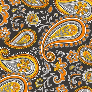 Modern Paisley in Orange Yellow