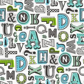 Alphabet Letters Doodle Mint Blue