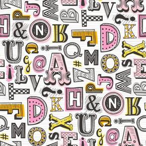 Alphabet Letters Doodle Pink