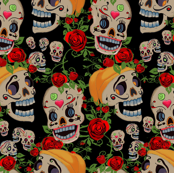 Funny skulls with flowers