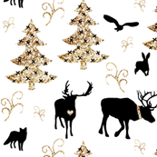 winter woodland gold black