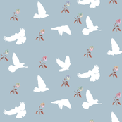 Doves in Flight, Desert Meadow Floral