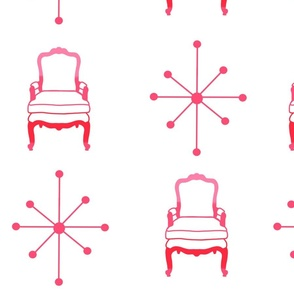 Retro Starburst Pattern with Matching Chair in Pink