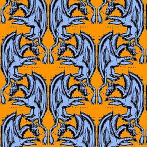 Woodblock Dragons on Orange