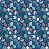 Radish print in blue