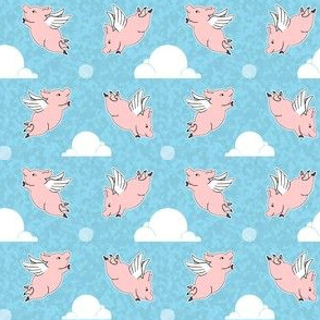 When Pigs Fly - Weathered Blue Background