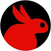 BIG CRAFTS Red Rabbits on Black White