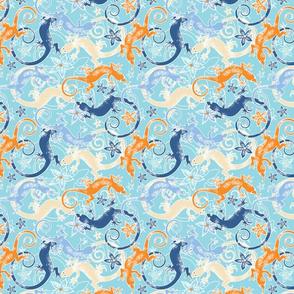 Cross-eyed lizards blue & orange