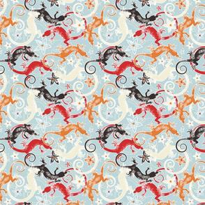Cross-eyed lizards red & orange