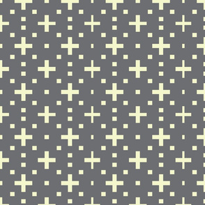 creme dots and crosses on gray