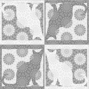 Cat Damask 19,  Black & White 2