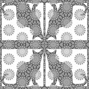 Cat Damask 19, Black & White 3