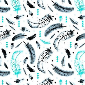 Geometric watercolor feathers in black white and pink scandinavian style illustration design turquoise winter blue
