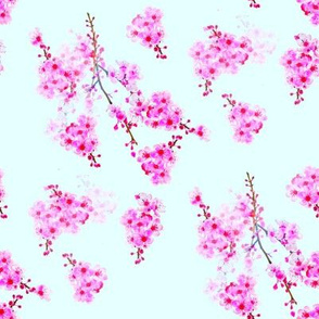 Cherry Blossom Branches-sky blue