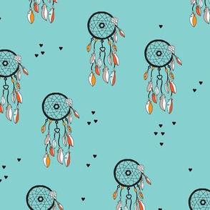 Indian Summer bohemian gypsy dream catcher illustration design blue