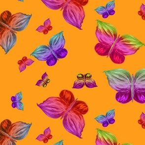 BUTTERFLIES EXOTIC JUNGLE ORANGE Large