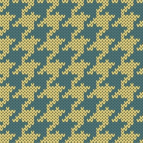 Retro Modern Houndstooth Knit in Yellow and Blue
