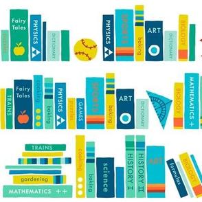 Little school library boy