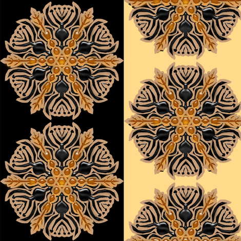Black and Amber Vase Snowflake Stripe