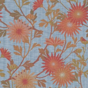 Springing Floral ~ Blue Jean Dream ~ Linen Luxe