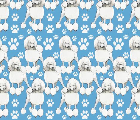 poodles on blue backround