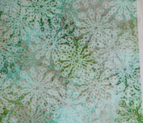 Scattered Loopy Snowflakes on Blue-Green