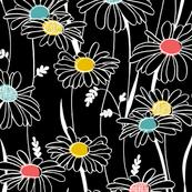 Flowing daisies - black
