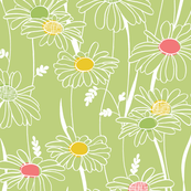 Flowing daisies - green