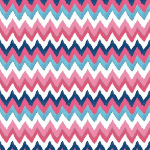 Small Scale Fuchsia Navy and Aqua Ikat Chevron
