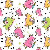 unicorn eating icecream pattern white