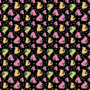 unicorn icecream pattern black