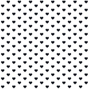 Hearts Black on White XS