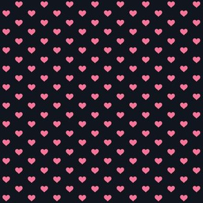 Hearts Pink on Black XS