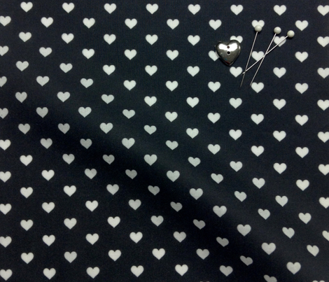 Hearts White on Black XS