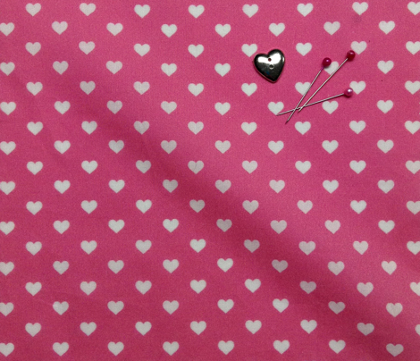 Hearts White on Pink XS