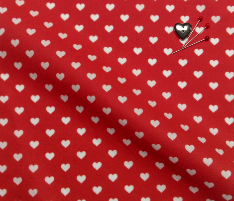 Hearts White on Red XS