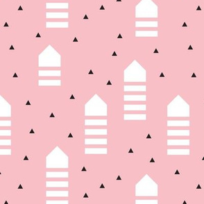 Abstract geometric arrows and triangles scandinavian style pastel pink design