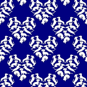 Custom Doxie Love, Navy and white