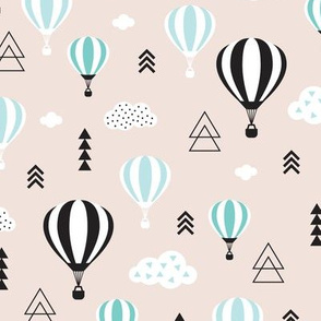 Scandinavian pastels and black and white hot air balloons and geometric clouds sky illustration pattern blue