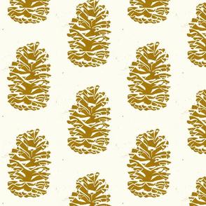 longleaf pinecone gold on cream